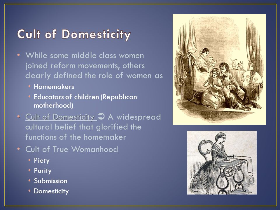 While some middle class women joined reform movements, others clearly defined the role of women as Homemakers Educators of children (Republican motherhood) Cult of Domesticity Cult of Domesticity  A widespread cultural belief that glorified the functions of the homemaker Cult of True Womanhood Piety Purity Submission Domesticity