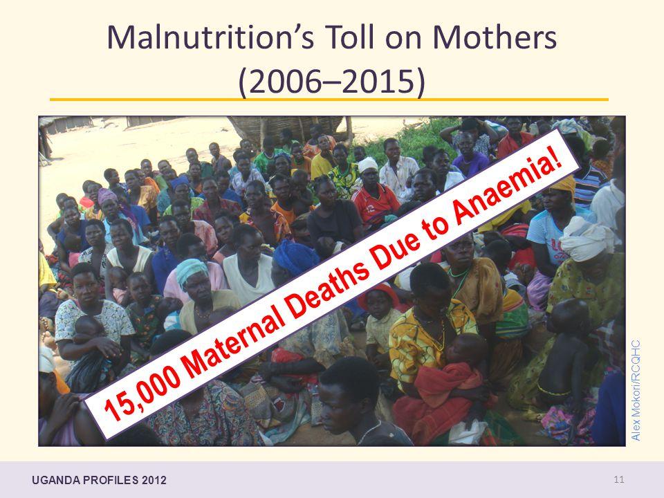 UGANDA PROFILES 2012 Malnutrition's Toll on Mothers (2006–2015) 15,000 Maternal Deaths Due to Anaemia! Alex Mokori/RCQHC 11