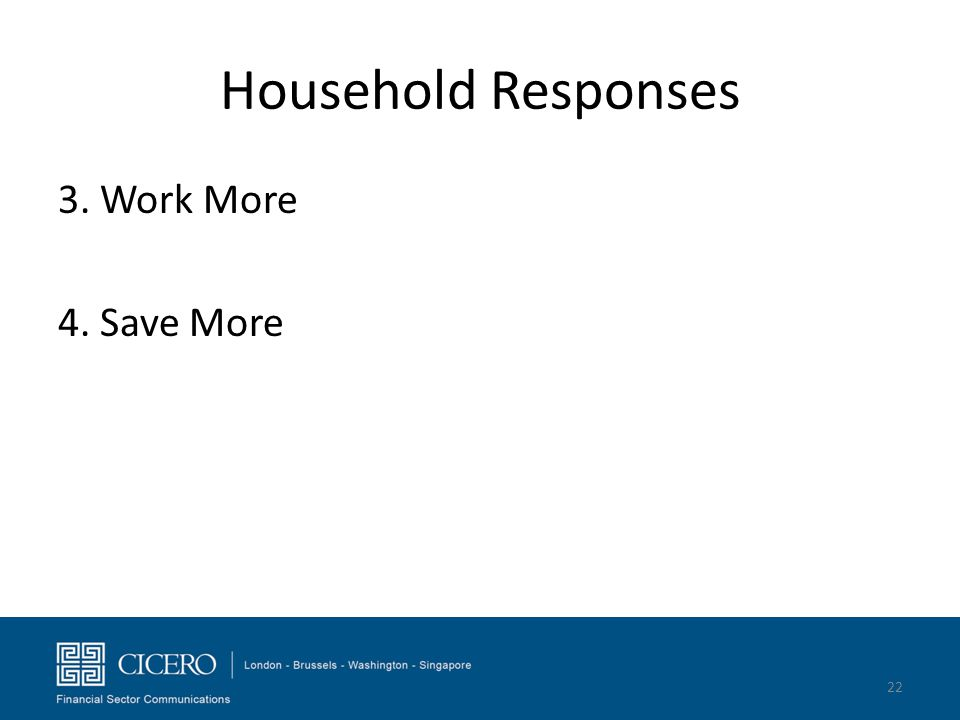 Household Responses 3. Work More 4. Save More 22