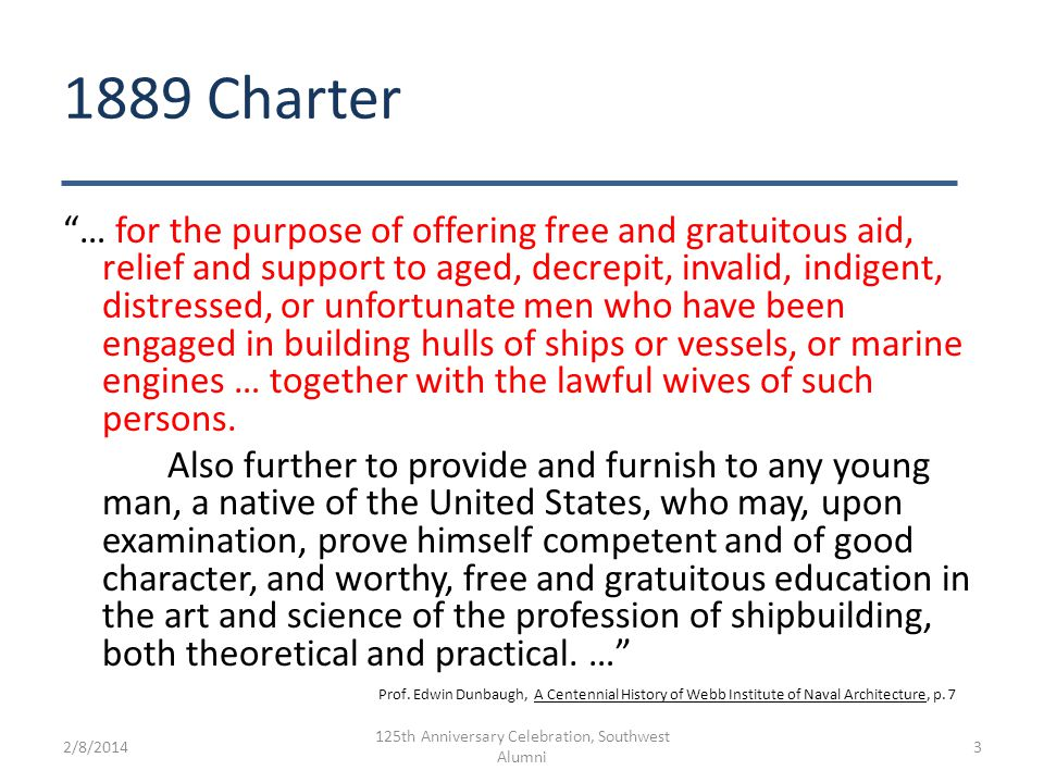 "1889 Charter ""… for the purpose of offering free and gratuitous aid, relief and support to aged, decrepit, invalid, indigent, distressed, or unfortuna"