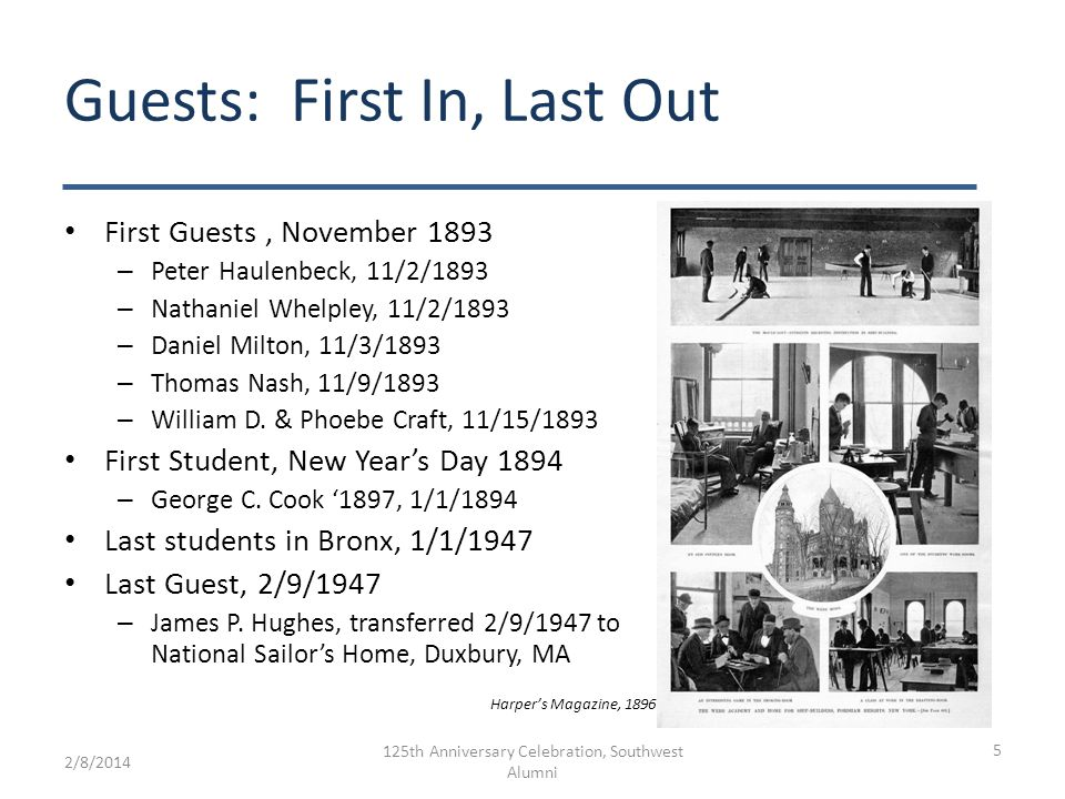 Guest count Analysis of Guest Register – Total Entries = 258 – Withdrawls = 21 – Re-admits = 4 – Net Guests =233 At or above 80% Guest Capacity for about 20 years Started to reduce Guest admissions in 1918 – No admissions during WWI Last Guest admitted – James P.