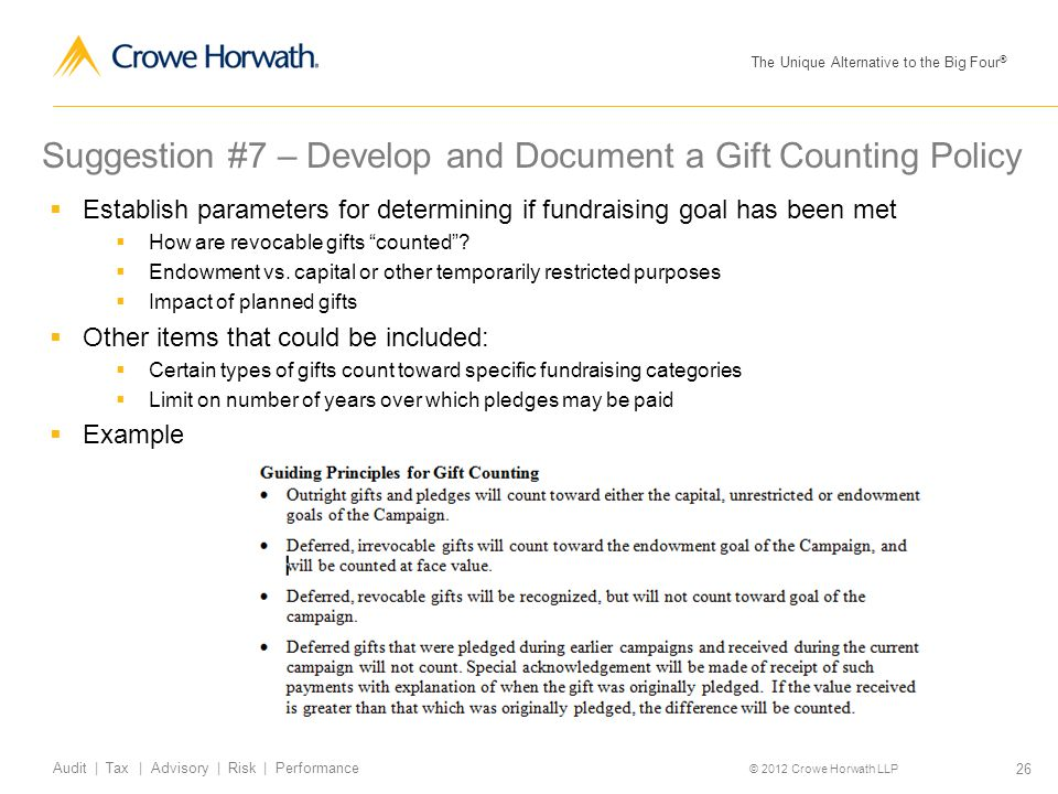 The Unique Alternative to the Big Four ® © 2012 Crowe Horwath LLP 26 Audit | Tax | Advisory | Risk | Performance Suggestion #7 – Develop and Document