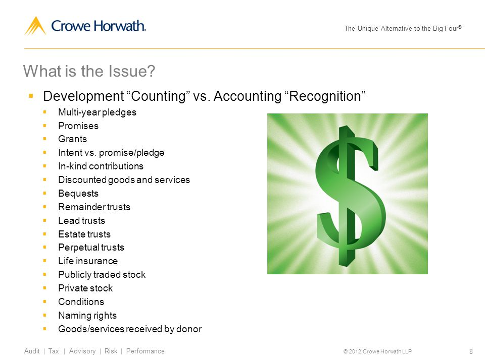 "The Unique Alternative to the Big Four ® © 2012 Crowe Horwath LLP 8 Audit | Tax | Advisory | Risk | Performance What is the Issue?  Development ""Coun"
