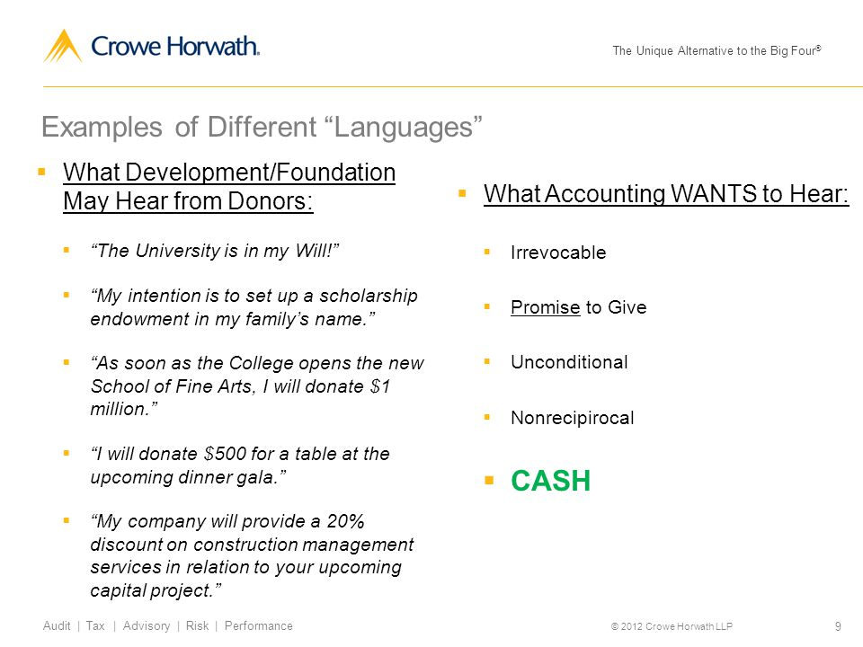 "The Unique Alternative to the Big Four ® © 2012 Crowe Horwath LLP 9 Audit | Tax | Advisory | Risk | Performance Examples of Different ""Languages""  Wh"