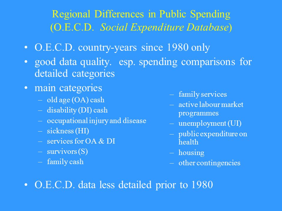 Regional Differences in Public Spending (O.E.C.D. Social Expenditure Database) O.E.C.D.