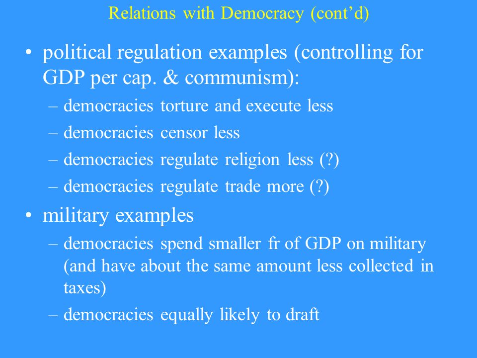 Relations with Democracy (cont'd) political regulation examples (controlling for GDP per cap.