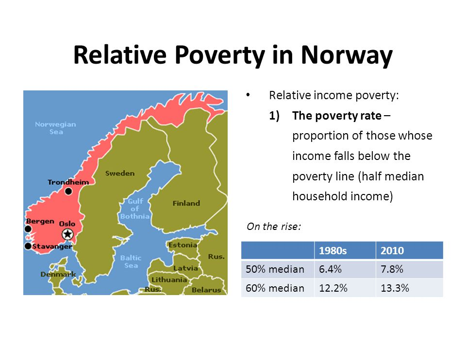 Relative Poverty in Norway Relative income poverty: 1)The poverty rate – proportion of those whose income falls below the poverty line (half median ho