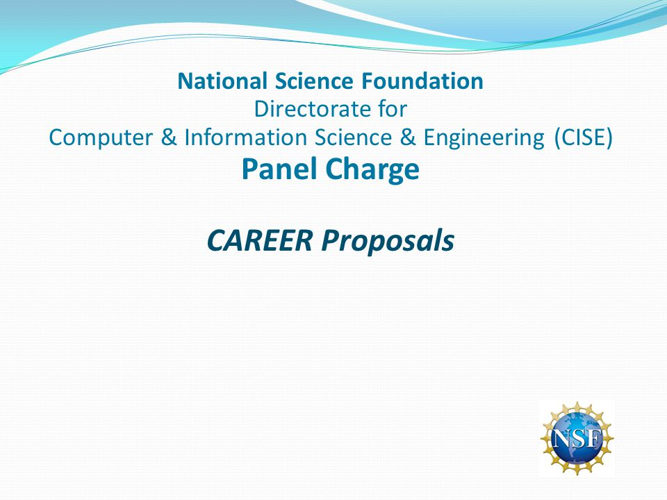 National Science Foundation Directorate for Computer & Information Science & Engineering (CISE) Panel Charge CAREER Proposals