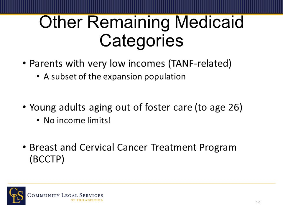 Other Remaining Medicaid Categories Parents with very low incomes (TANF-related) A subset of the expansion population Young adults aging out of foster care (to age 26) No income limits.