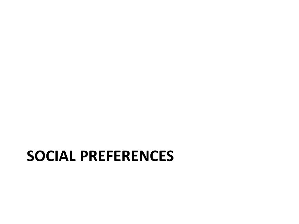 Social preferences: summary Social preferences help explain – giving to charities; – the response of striking workers to wage cuts; – the response of giving to gifts in fund-raisers; – the response of effort to unanticipated changes in pay, at least in the short run; and – the response of effort to nonmonetary gifts.