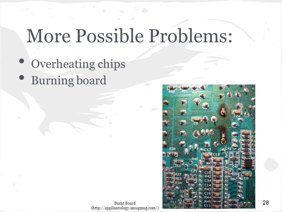 More Possible Problems: Overheating chips Burning board 28 Burnt Board (http://appliantology.smugmug.com/)