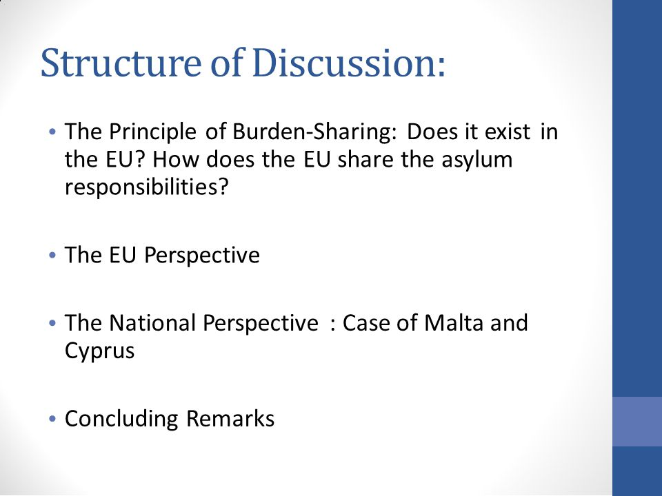 Structure of Discussion: The Principle of Burden-Sharing: Does it existin the EU.