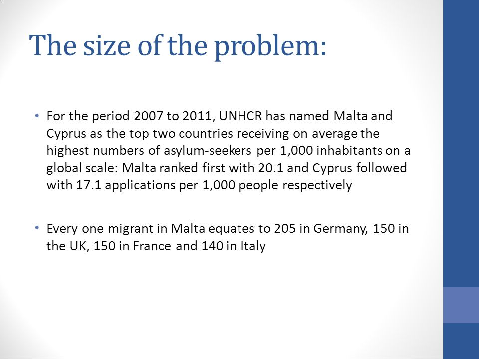 The size of the problem: For the period 2007 to 2011, UNHCR has named Malta and Cyprus as the top two countries receiving on average the highest numbers of asylum-seekers per 1,000 inhabitants on a global scale: Malta ranked first with 20.1 and Cyprus followed with 17.1 applications per 1,000 people respectively Every one migrant in Malta equates to 205 in Germany, 150 in the UK, 150 in France and 140 in Italy