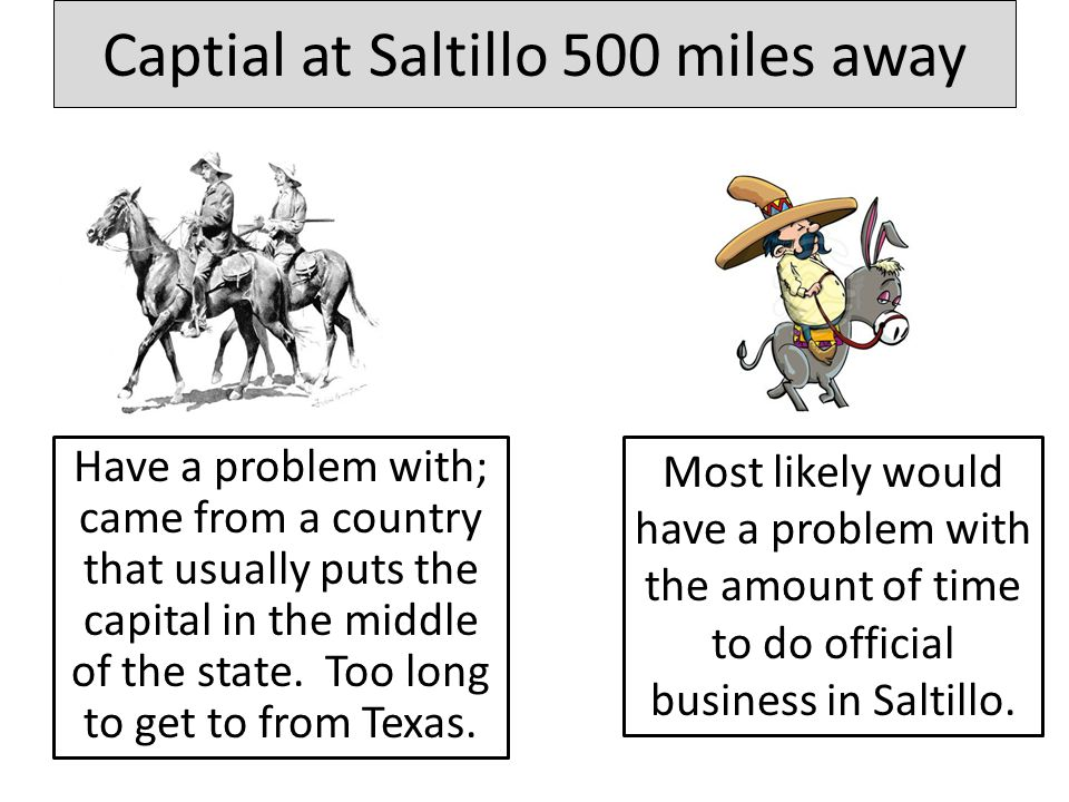 Captial at Saltillo 500 miles away Have a problem with; came from a country that usually puts the capital in the middle of the state.