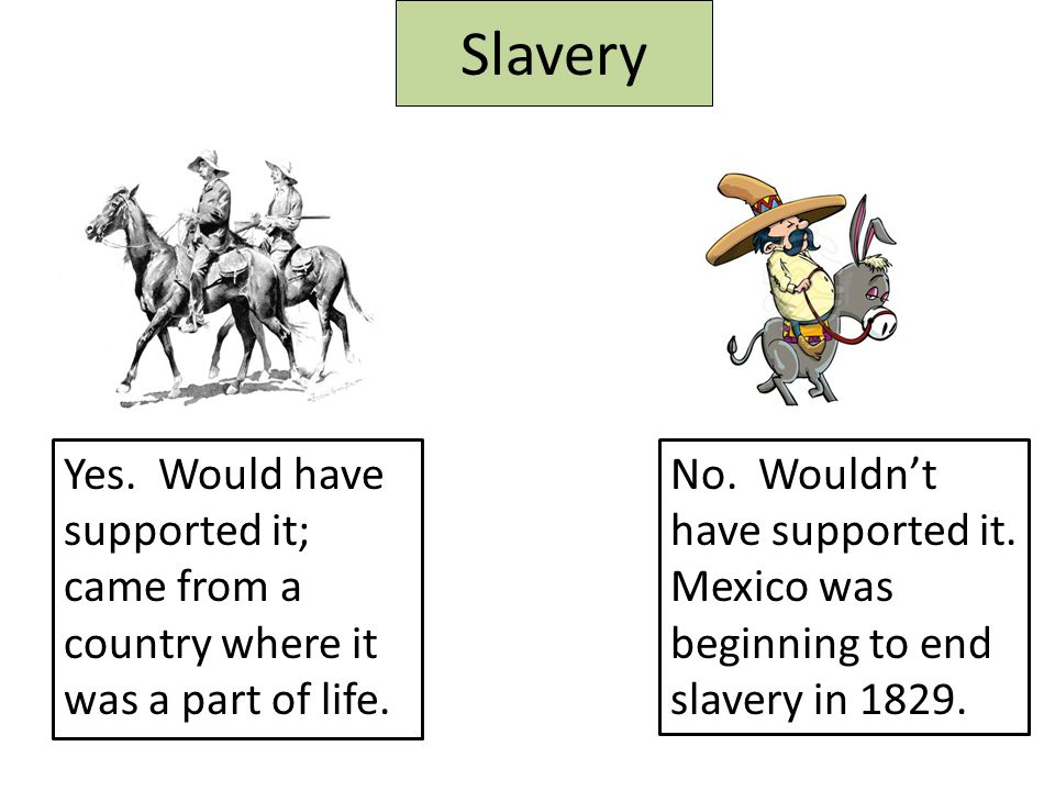 Slavery Yes. Would have supported it; came from a country where it was a part of life.