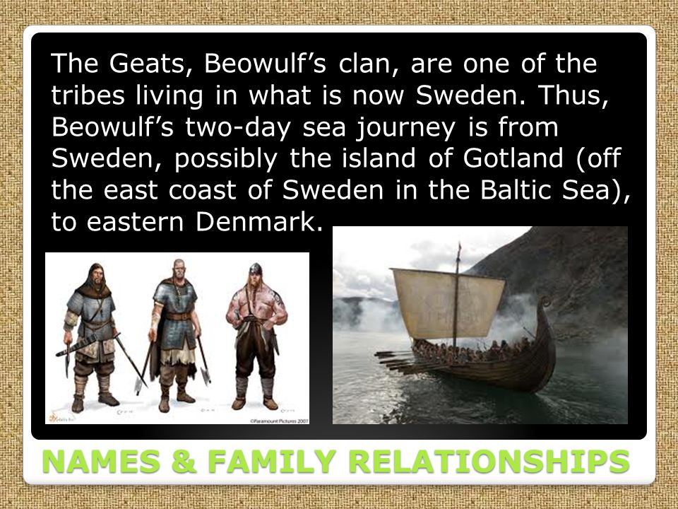 NAMES & FAMILY RELATIONSHIPS The Geats, Beowulf's clan, are one of the tribes living in what is now Sweden. Thus, Beowulf's two-day sea journey is fro