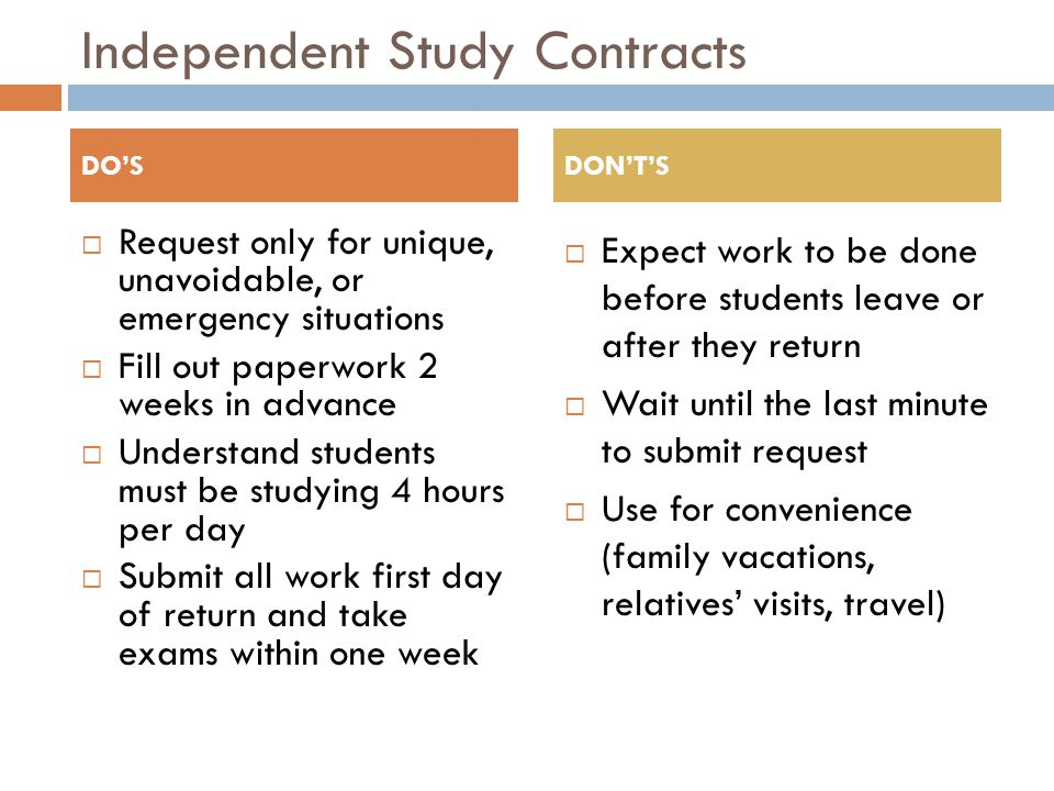 Independent Study Contracts  Request only for unique, unavoidable, or emergency situations  Fill out paperwork 2 weeks in advance  Understand students must be studying 4 hours per day  Submit all work first day of return and take exams within one week  Expect work to be done before students leave or after they return  Wait until the last minute to submit request  Use for convenience (family vacations, relatives' visits, travel) DO'SDON'T'S