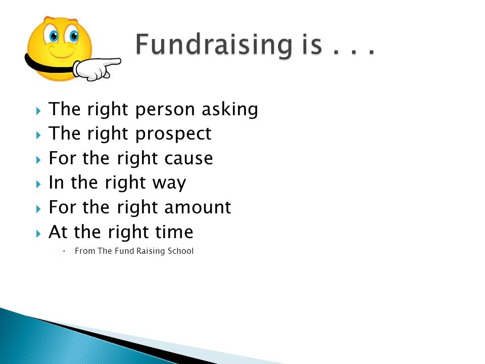  The right person asking  The right prospect  For the right cause  In the right way  For the right amount  At the right time  From The Fund Rai