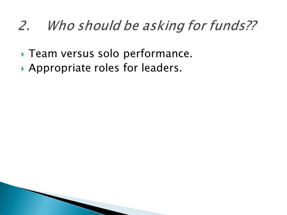  Team versus solo performance.  Appropriate roles for leaders.