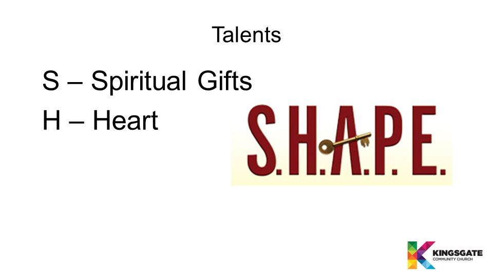 Talents S – Spiritual Gifts H – Heart