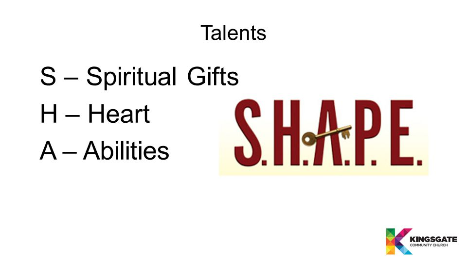 Talents S – Spiritual Gifts H – Heart A – Abilities