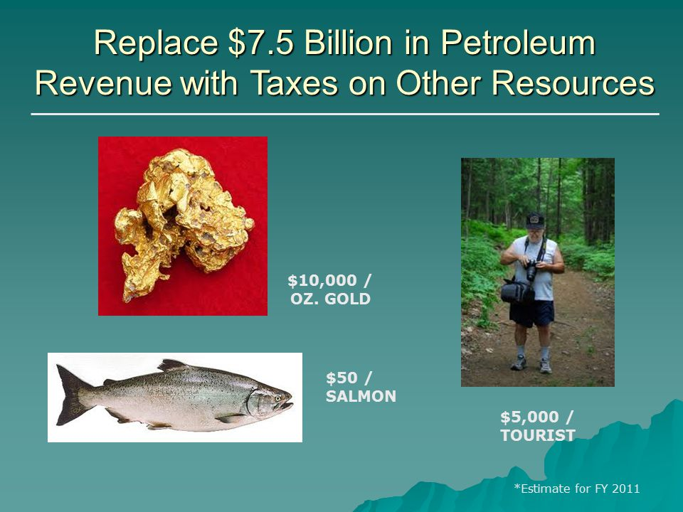 Replace $7.5 Billion in Petroleum Revenue with Taxes on Other Resources $5,000 / TOURIST $10,000 / OZ.