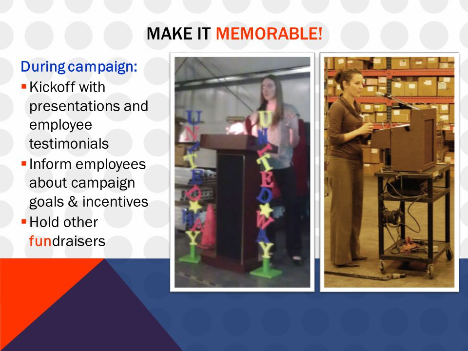 MAKE IT MEMORABLE! During campaign:  Kickoff with presentations and employee testimonials  Inform employees about campaign goals & incentives  Hold