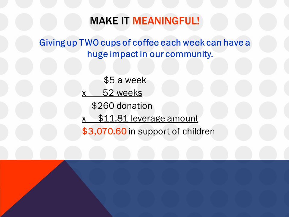 MAKE IT MEANINGFUL! Giving up TWO cups of coffee each week can have a huge impact in our community. $5 a week x 52 weeks $260 donation x $11.81 levera