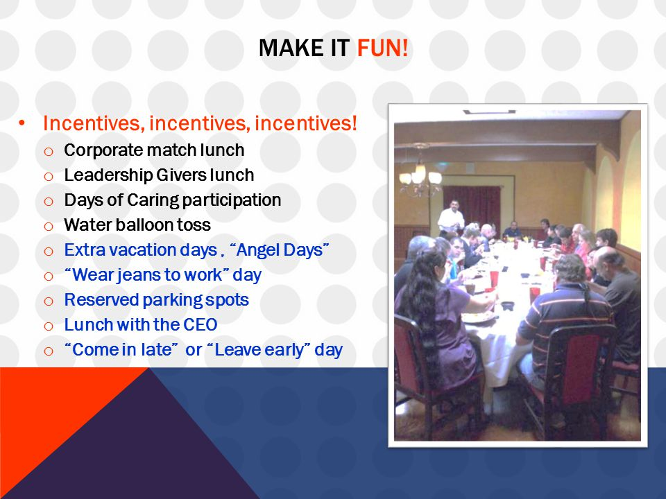 MAKE IT FUN! Incentives, incentives, incentives! o Corporate match lunch o Leadership Givers lunch o Days of Caring participation o Water balloon toss