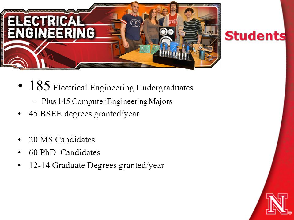 Students 185 Electrical Engineering Undergraduates –Plus 145 Computer Engineering Majors 45 BSEE degrees granted/year 20 MS Candidates 60 PhD Candidates 12-14 Graduate Degrees granted/year