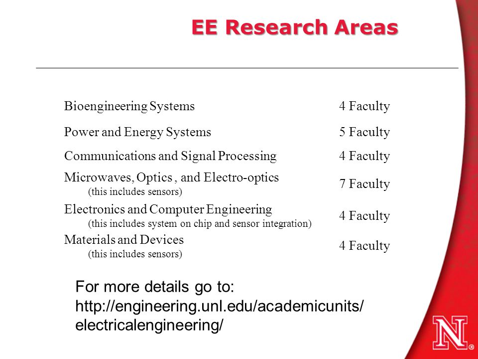 EE Research Areas Bioengineering Systems4 Faculty Power and Energy Systems5 Faculty Communications and Signal Processing4 Faculty Microwaves, Optics, and Electro-optics (this includes sensors) 7 Faculty Electronics and Computer Engineering (this includes system on chip and sensor integration) 4 Faculty Materials and Devices (this includes sensors) 4 Faculty For more details go to: http://engineering.unl.edu/academicunits/ electricalengineering/