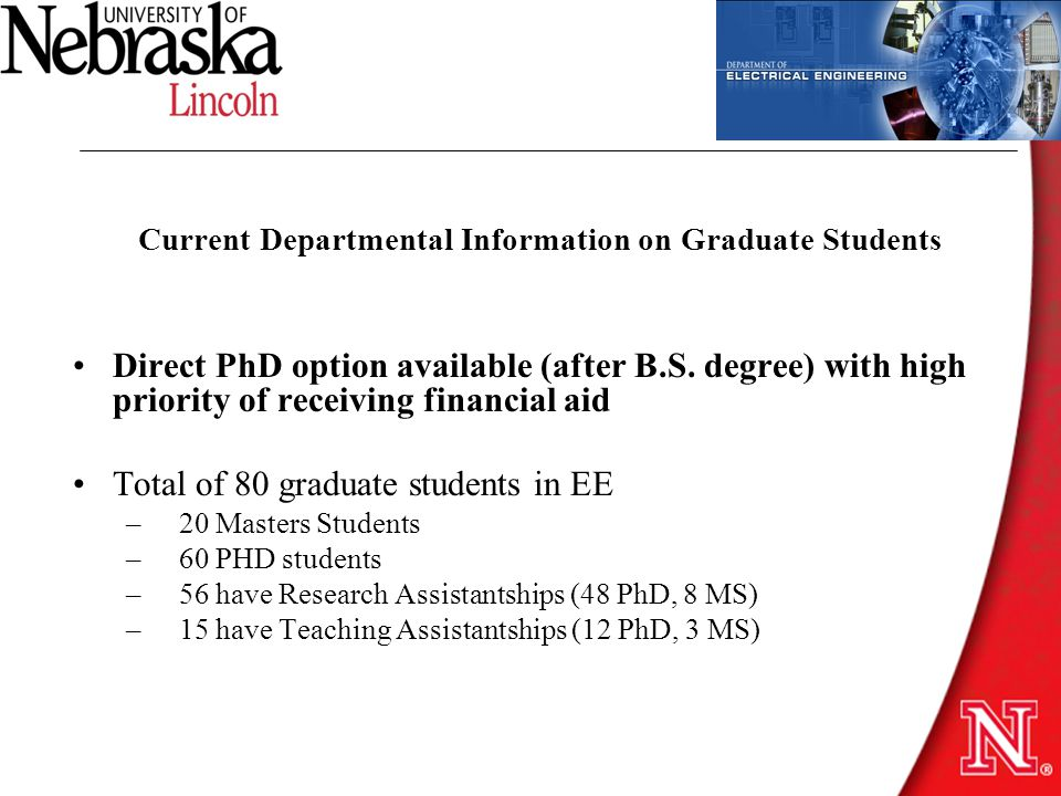 Current Departmental Information on Graduate Students Direct PhD option available (after B.S.