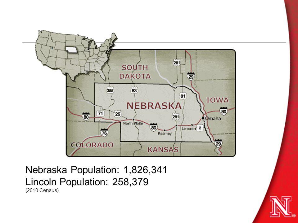 Where are we Nebraska Population: 1,826,341 Lincoln Population: 258,379 (2010 Census) Chicago