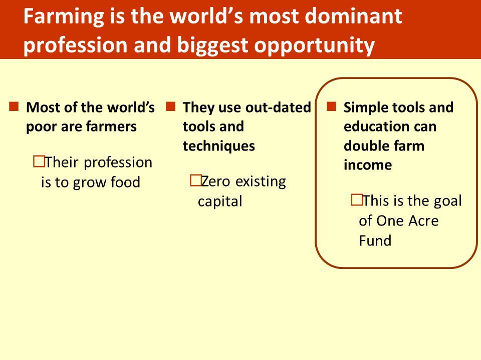 Farming is the world's most dominant profession and biggest opportunity Most of the world's poor are farmers  Their profession is to grow food They use out-dated tools and techniques  Zero existing capital Simple tools and education can double farm income  This is the goal of One Acre Fund