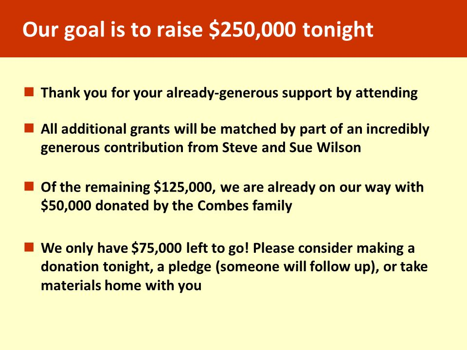 Our goal is to raise $250,000 tonight All additional grants will be matched by part of an incredibly generous contribution from Steve and Sue Wilson Of the remaining $125,000, we are already on our way with $50,000 donated by the Combes family We only have $75,000 left to go.