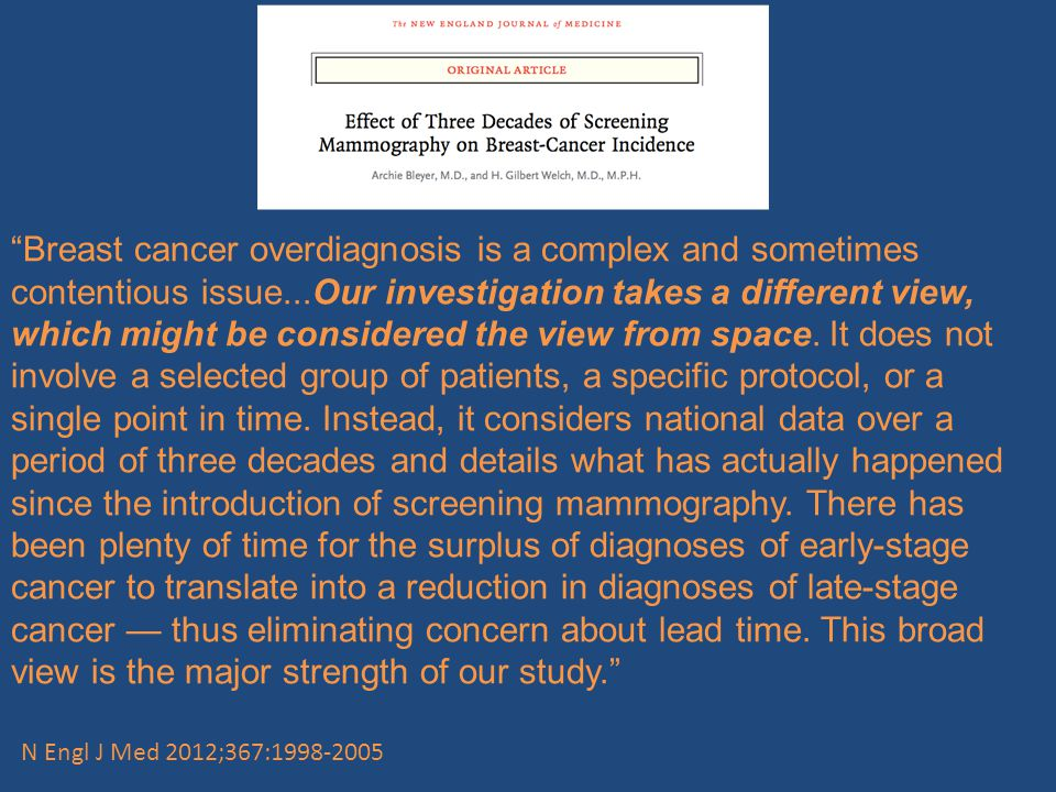 Breast cancer overdiagnosis is a complex and sometimes contentious issue...Our investigation takes a different view, which might be considered the view from space.