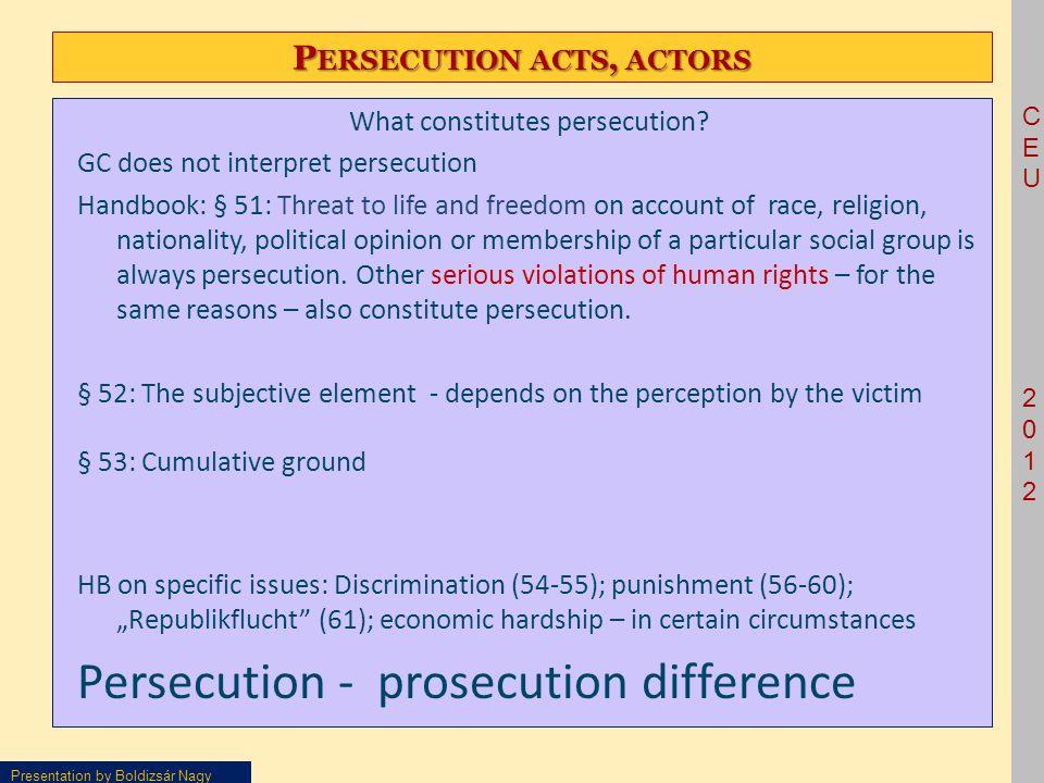 CEU2012CEU2012 Presentation by Boldizsár Nagy P ERSECUTION ACTS, ACTORS What constitutes persecution.