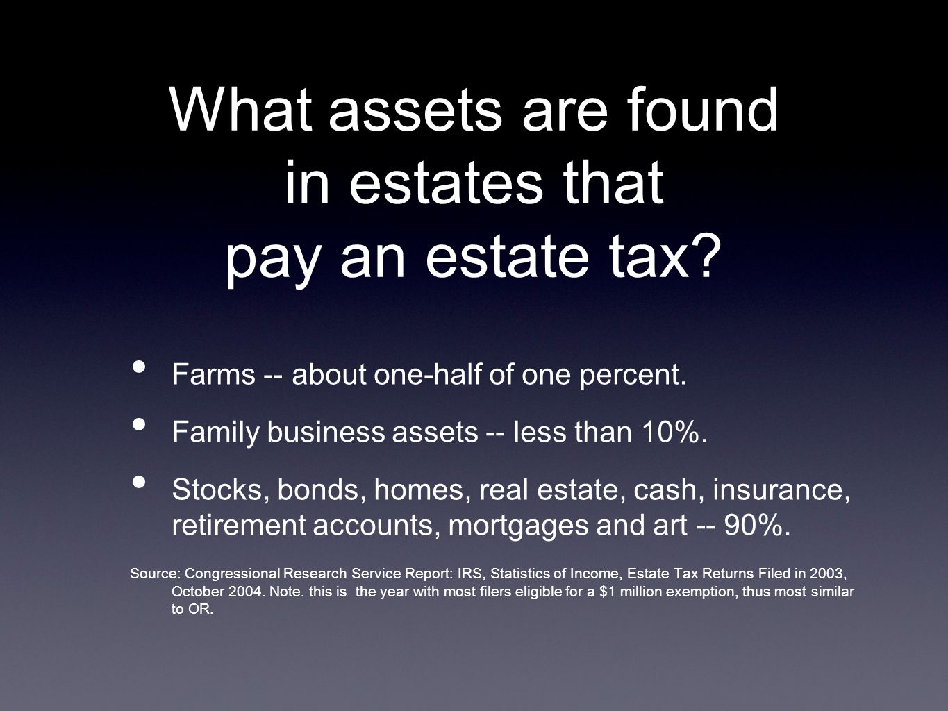 What assets are found in estates that pay an estate tax.