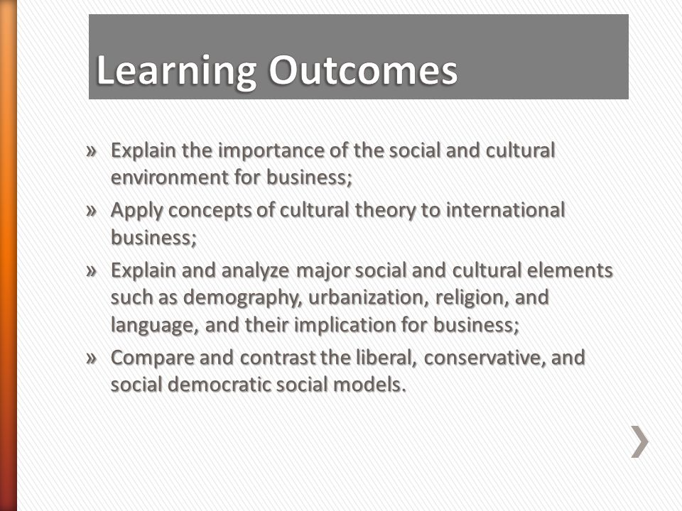 » Explain the importance of the social and cultural environment for business; » Apply concepts of cultural theory to international business; » Explain