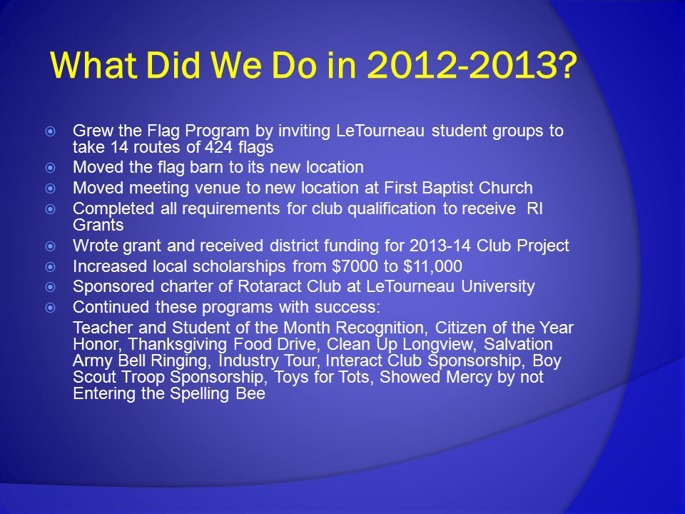 What Are We Doing in 2013-2014 .