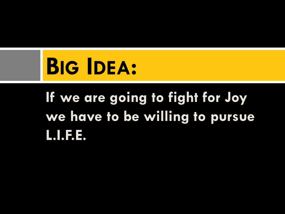 If we are going to fight for Joy we have to be willing to pursue L.I.F.E. B IG I DEA :