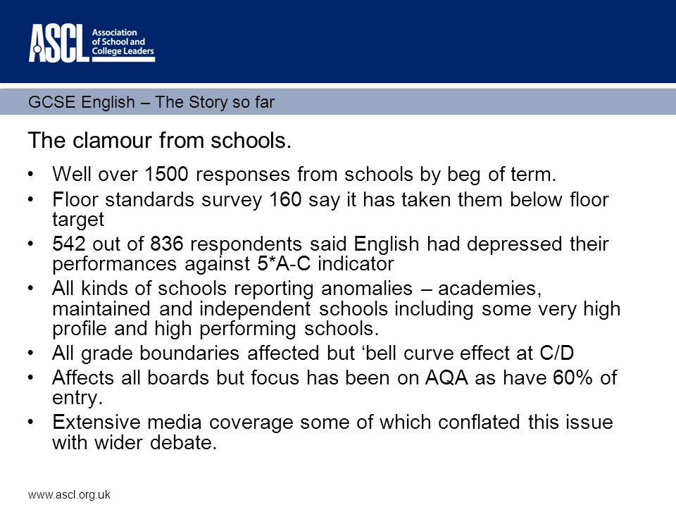 GCSE English – The Story so far www.ascl.org.uk The clamour from schools.