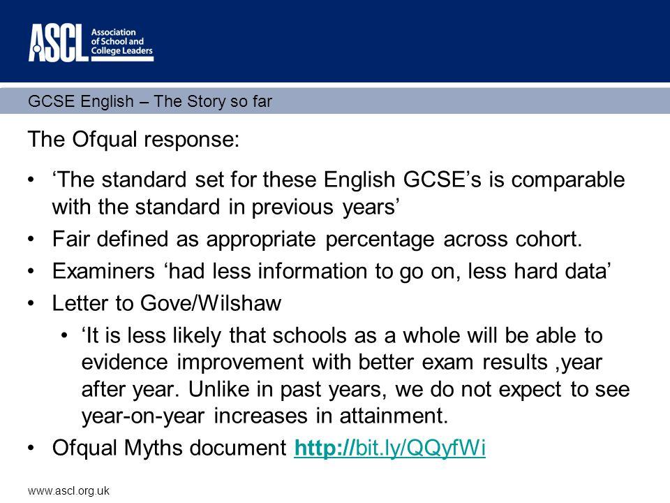 GCSE English – The Story so far www.ascl.org.uk