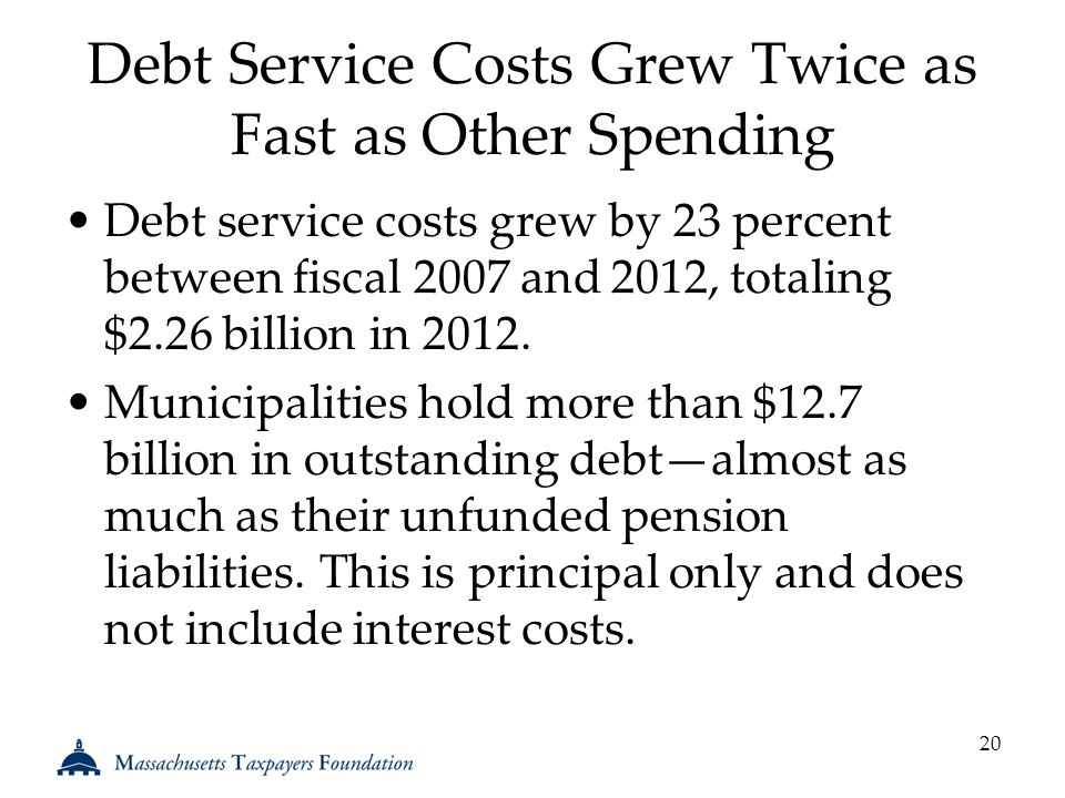 Debt Service Costs Grew Twice as Fast as Other Spending Debt service costs grew by 23 percent between fiscal 2007 and 2012, totaling $2.26 billion in 2012.