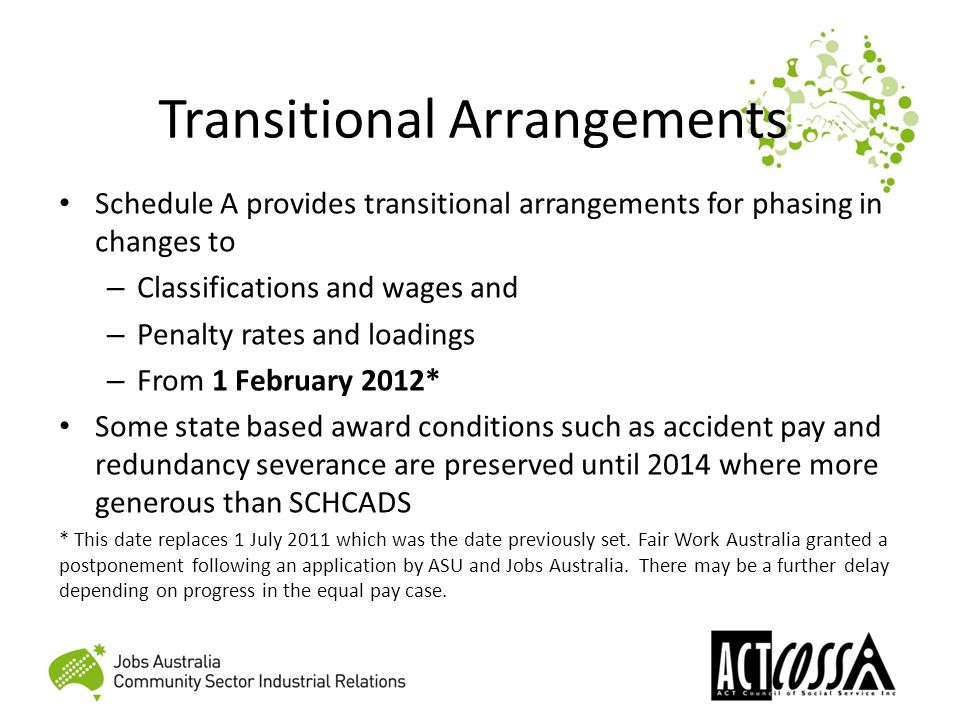 Transitional Arrangements Schedule A provides transitional arrangements for phasing in changes to – Classifications and wages and – Penalty rates and loadings – From 1 February 2012* Some state based award conditions such as accident pay and redundancy severance are preserved until 2014 where more generous than SCHCADS * This date replaces 1 July 2011 which was the date previously set.