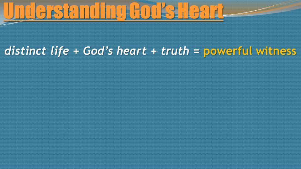 Understanding God's Heart distinct life + God's heart + truth = powerful witness