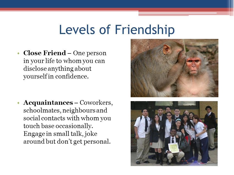 Levels of Friendship Close Friend – One person in your life to whom you can disclose anything about yourself in confidence. Acquaintances – Coworkers,