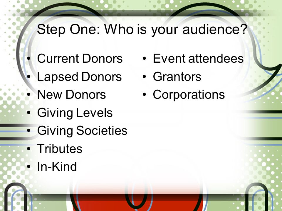Step One: Who is your audience.