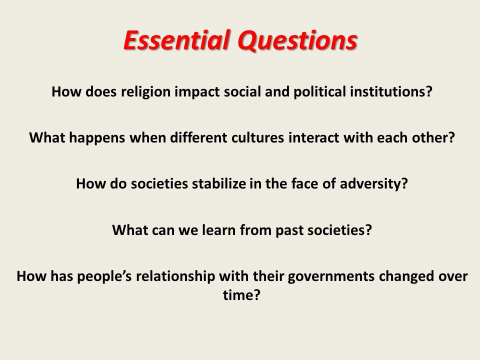 Essential Questions How does religion impact social and political institutions.