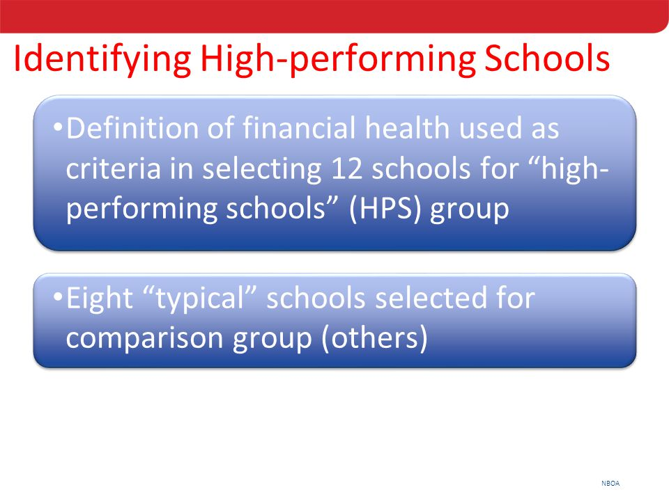 "NBOA Definition of financial health used as criteria in selecting 12 schools for ""high- performing schools"" (HPS) group Eight ""typical"" schools select"